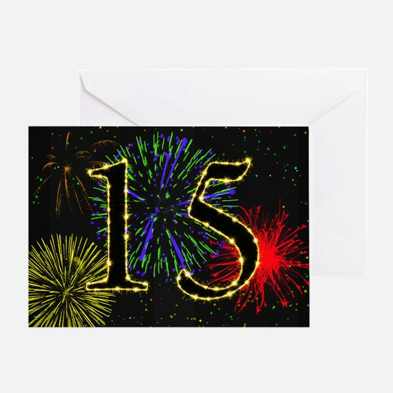 15th birthday with fireworks Greeting Card