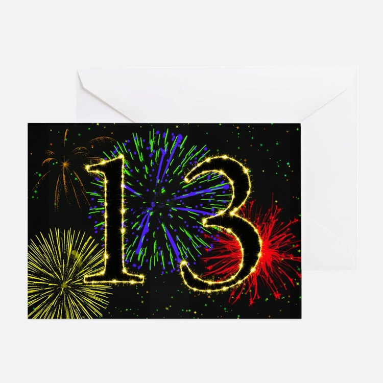 13th birthday with fireworks Greeting Card