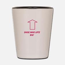 Chick who lifts big Shot Glass