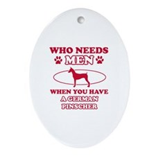 Funny German Pinscher mommy designs Ornament (Oval