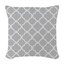 Light Gray Quatrefoil Clover Pattern Woven Throw P