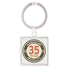 35th Birthday Vintage Square Keychain