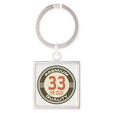 33rd Birthday Vintage Square Keychain