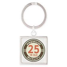 25th Birthday Vintage Square Keychain