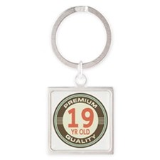 19th Birthday Vintage Square Keychain