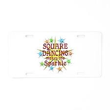 Square Dancing Sparkles Aluminum License Plate