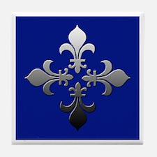 Blue and Silver Fleur de Lis Coaster