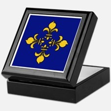 Blue and Yellow Gold Fleur de Lis Keepsake Box