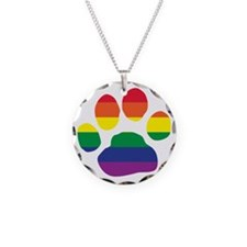 Gay Pride Rainbow Paw Print Necklace