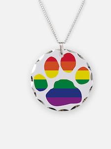 Gay Pride Rainbow Paw Print Necklace