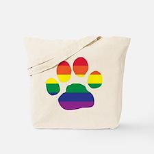 Gay Pride Rainbow Paw Print Tote Bag