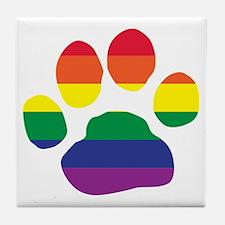 Gay Pride Rainbow Paw Print Tile Coaster