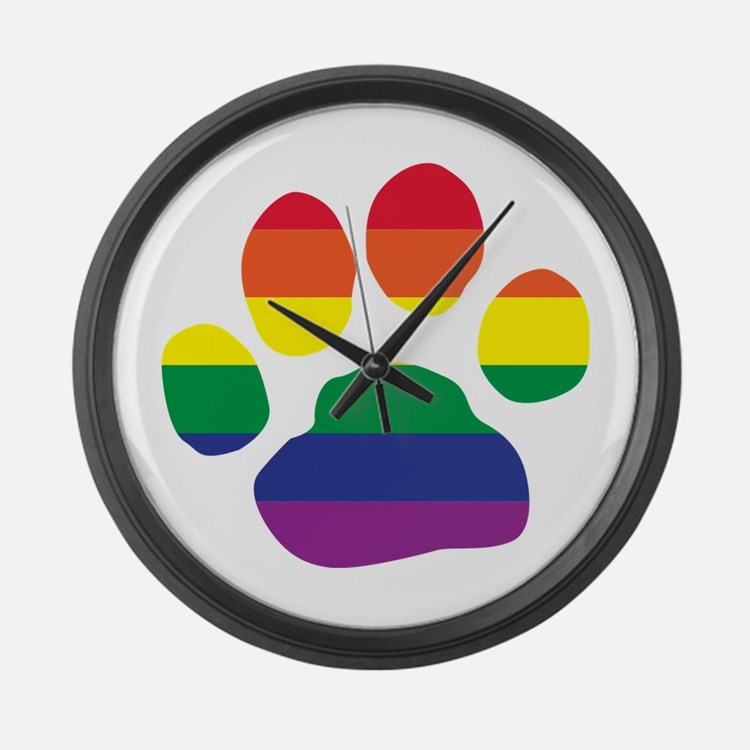 Gay Pride Rainbow Paw Print Large Wall Clock