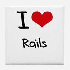 I Love Rails Tile Coaster