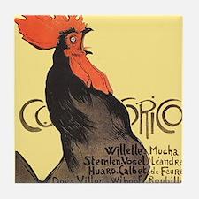Vintage Rooster Crowing Tile Coaster