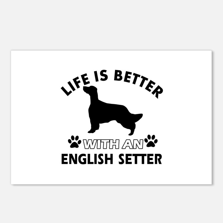 Life is better with English Setter Postcards (Pack