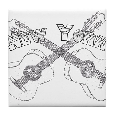 New York Guitars Tile Coaster