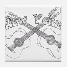 New York Guitars Tile Coaster