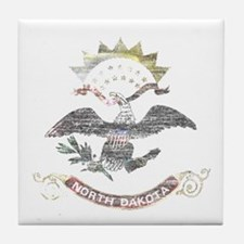 North Dakota Vintage State Flag Tile Coaster