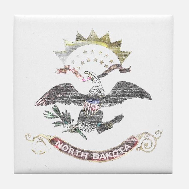 North Dakota Vintage State Flag Tile Coaster
