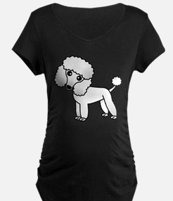 Cute White Poodle Maternity T-Shirt