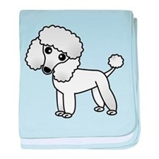 Cute White Poodle baby blanket
