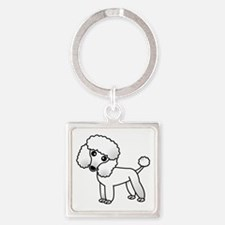 Cute White Poodle Keychains