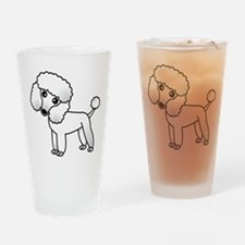 Cute White Poodle Drinking Glass