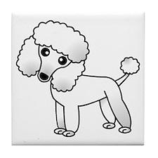 Cute White Poodle Tile Coaster