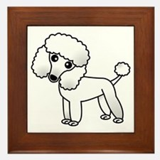 Cute White Poodle Framed Tile