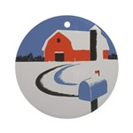 Winter Snow on Barn Ornament (Round)