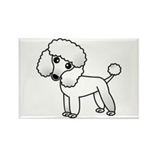 Cute White Poodle Rectangle Magnet