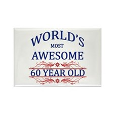 World's Most Awesome 60 Year Old Rectangle Magnet