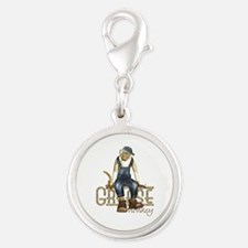 Funny Grease Monkey Mechanic Silver Round Charm