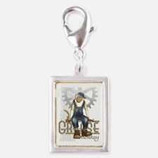 Funny Grease Monkey Mechanic Silver Portrait Charm