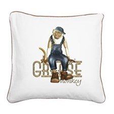 Funny Grease Monkey Mechanic Square Canvas Pillow