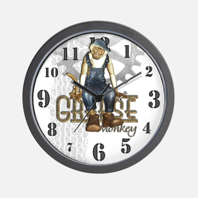 Funny Grease Monkey Mechanic Wall Clock