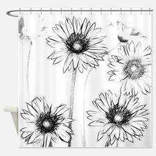 Black White Flowers Shower Curtains Black White Flowers Fabric - Black and white flower shower curtain