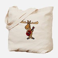 Funny Moose Playing Guitar Tote Bag