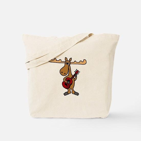 Funny Moose Playing Guitar Tote Bag