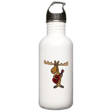 Funny Moose Playing Guitar Water Bottle