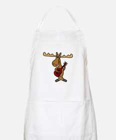 Funny Moose Playing Guitar Apron