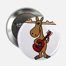"Funny Moose Playing Guitar 2.25"" Button"