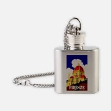 Vintage Florence Italy Travel Flask Necklace
