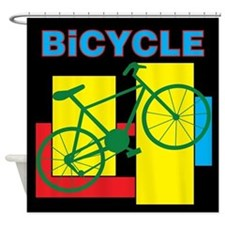 Color Block Bike Shower Curtain