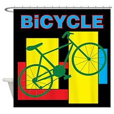 Color Block Bike Shower Curtain