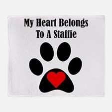 My Heart Belongs To A Staffie Throw Blanket