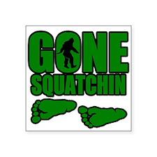 "Gone Squatchin green footprints Square Sticker 3"""