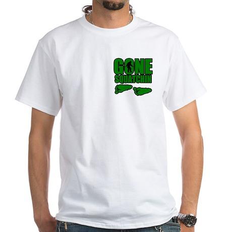 Gone Squatchin green footprints White T-Shirt