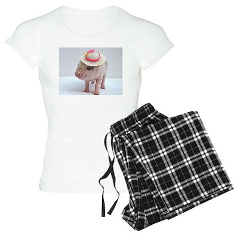 Micro pig wearing Summer hat pajamas